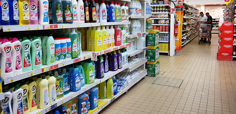 Cleaning Products Aisle At Supermarket