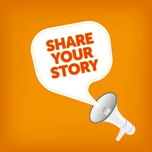 Microphone With Words 'Share Your Story'