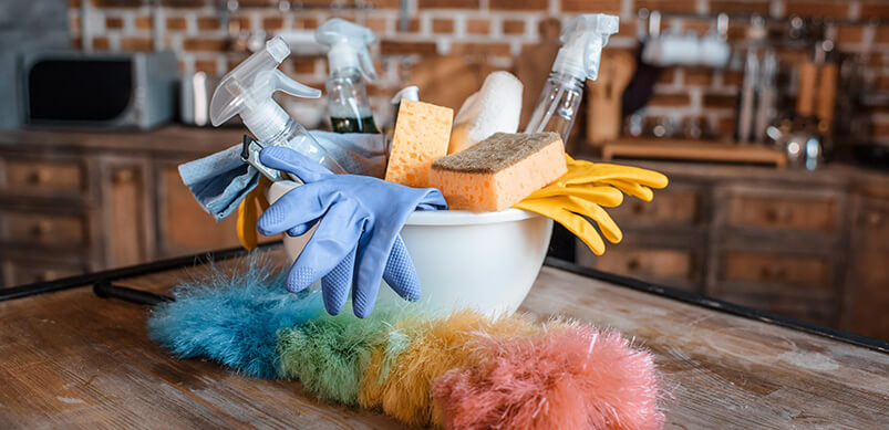 Cleaning Supplies On Kitchen Counter
