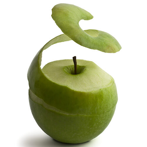 Apple With Peel Curling Upwards