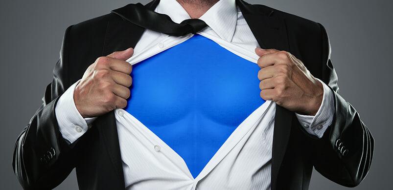 Man Opening Shirt To Reveal Superhero Outift