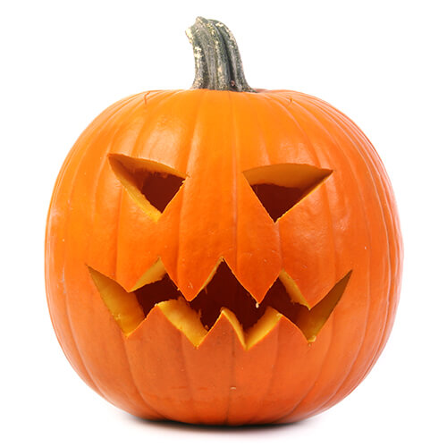 Carved Pumpkin On White Background