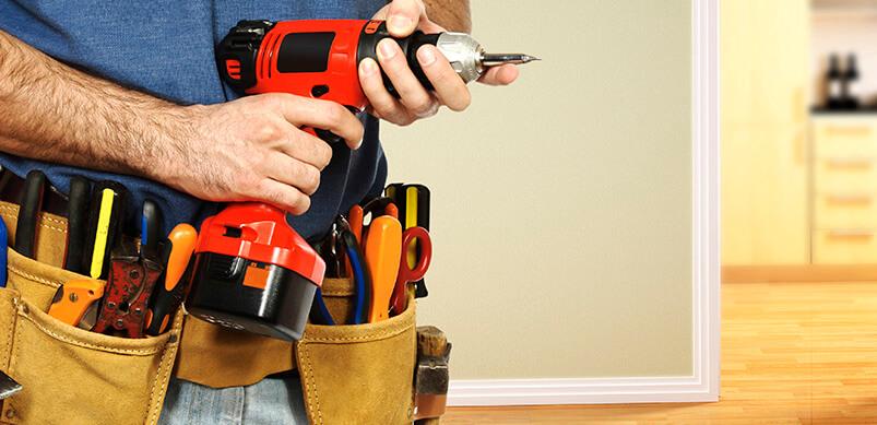 Close Up Of Man Wearing Tool Belt