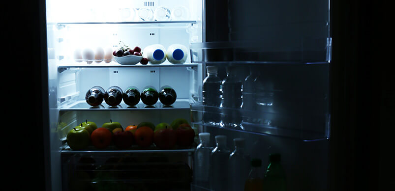 Dark Refrigerator With Light Inside