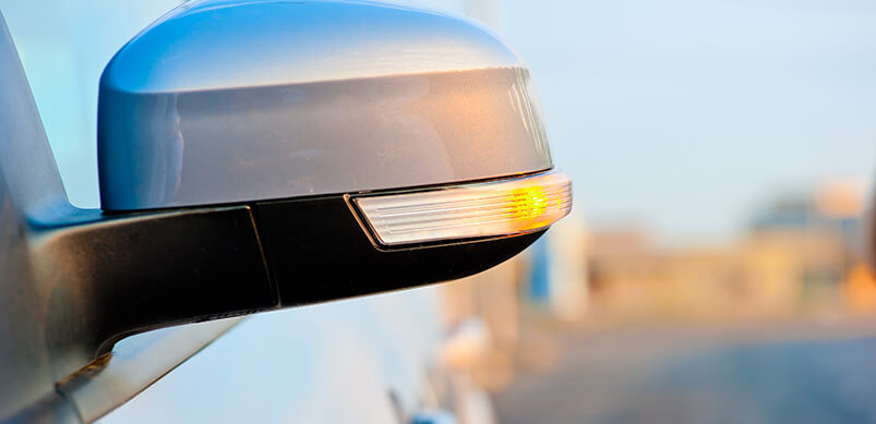 Car Side Mirror With Indicator Light On