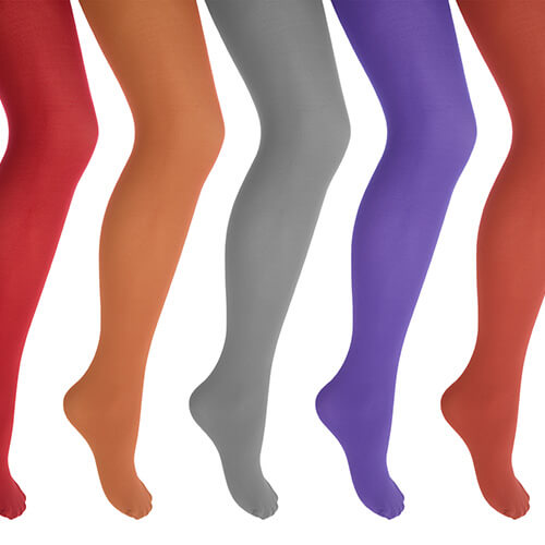 Row Of Legs In Colourful Tights