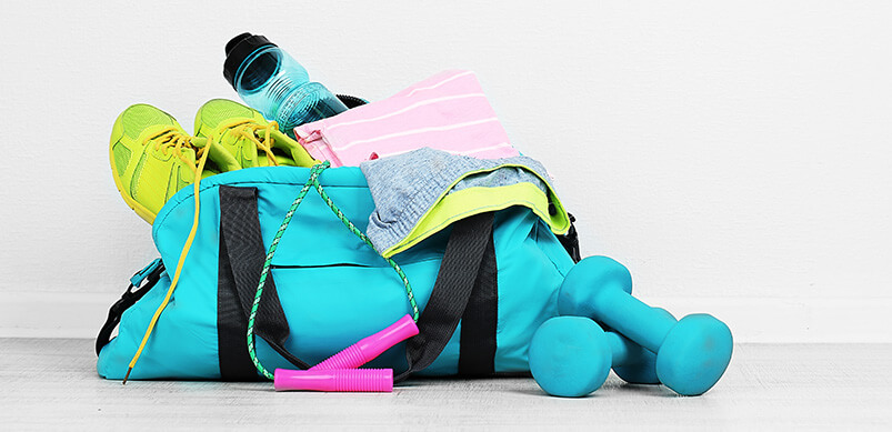 Sports bag With Gym Equipment Inside