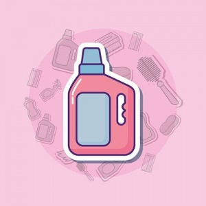 Pink Cartoon Of Cleaning Products