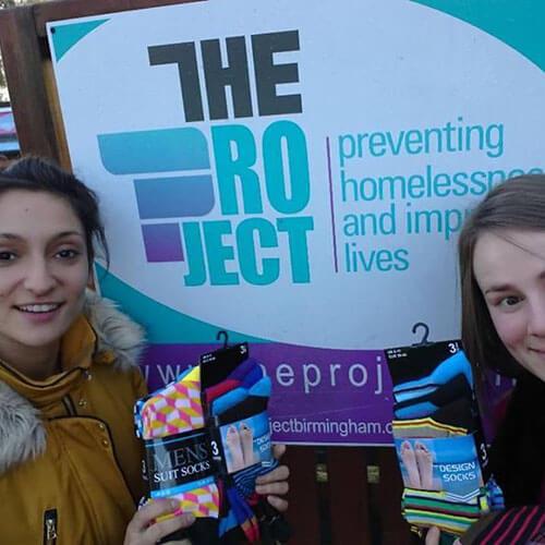 Mariya And Eleanor Donating Socks
