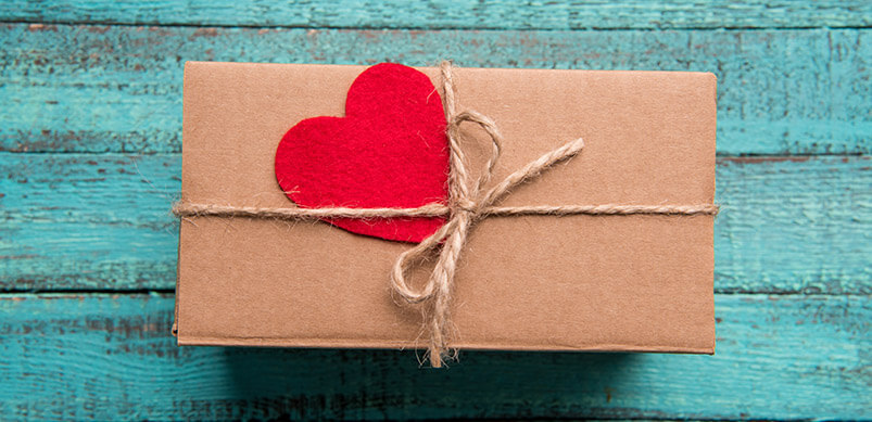 Brown Gift Tied With Red Heart