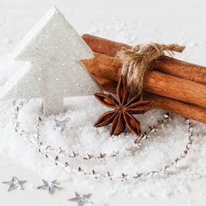 Christmas Decorations And Spices In The Snow