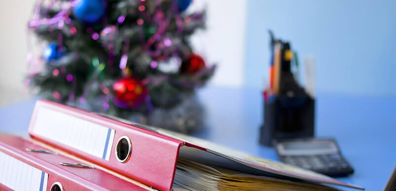 Christmas Tree On Office Desk