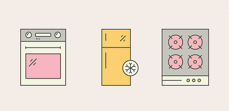 Cooker Fridge And Oven Illustration
