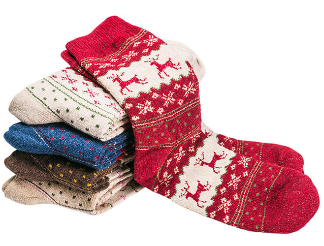 Pile Of Christmas Themed Socks