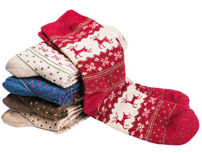 Pile Of Christmas Themed Socks