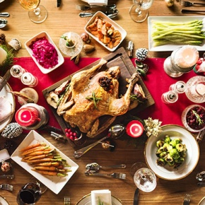 Christmas Dinner Laid Out On Table