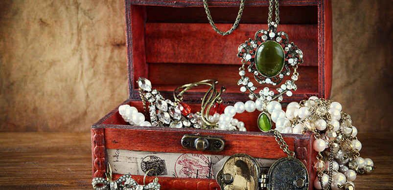 Jewellery Box With Antique Jewellery