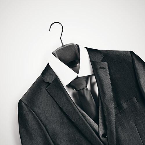 Mans Full Suit On Hanger