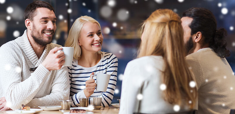 Group Of Friends Talking Over Coffee