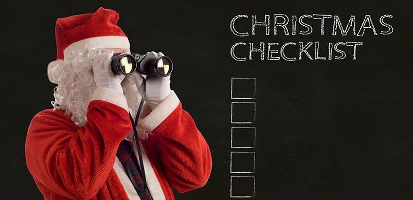 Santa With Binoculars And Christmas Checklist Background