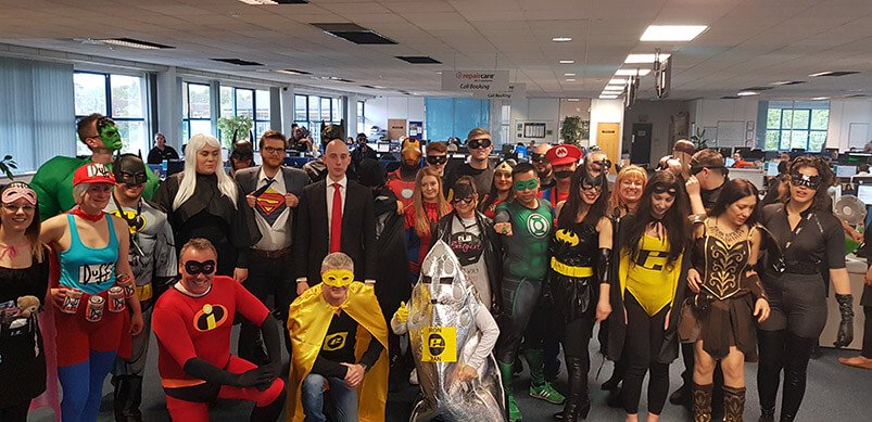 Team Dressed As Superheroes