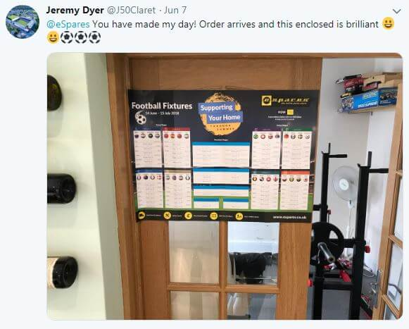 Customer Tweet Featuring Wall Planner