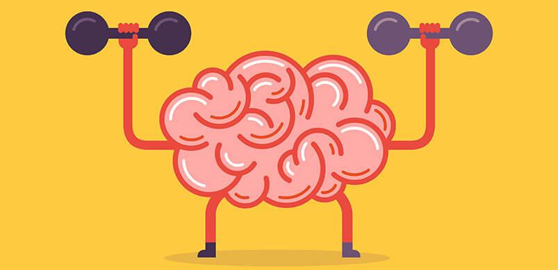 Cartoon Brain Flexing Muscles