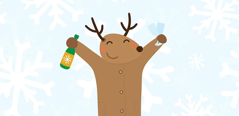 Cartoon Reindeer Holding Champagne