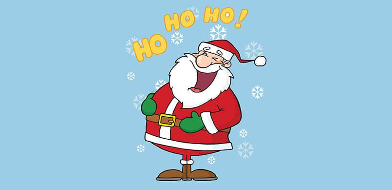 Cartoon Santa With Ho Ho Ho Laugh