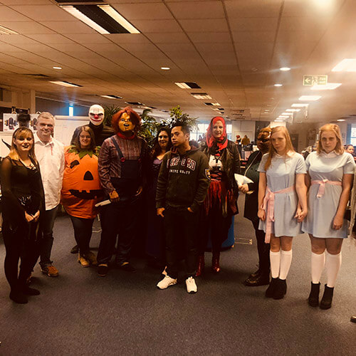 Team Dressed Up For Halloween