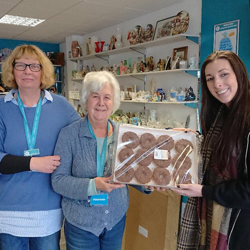 Kirsty Handing Donuts To Castle Bromwich Shop