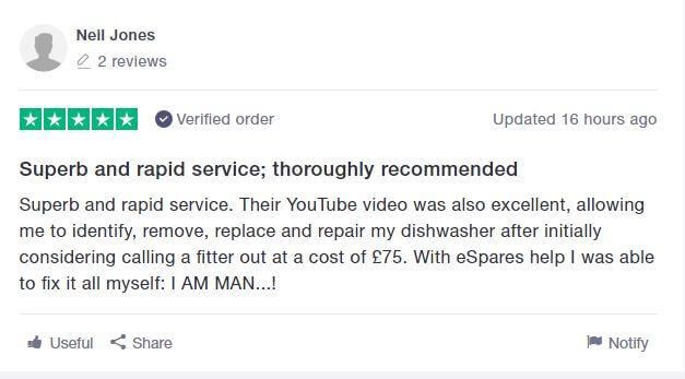 Trustpilot Customer Review Saving £75