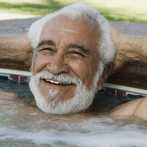 Happy Man in Hot Tub