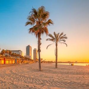 Image Of Barcelona Beach At Sunrise