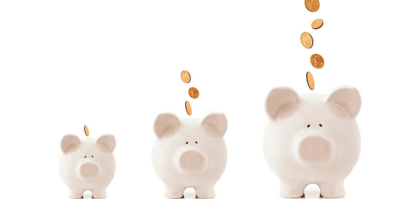 Three Growing Piggy Banks
