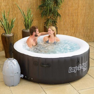 People Inside Inflatable Hot Tub