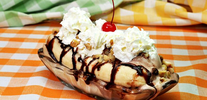 Banana Split Topped With Ice Cream