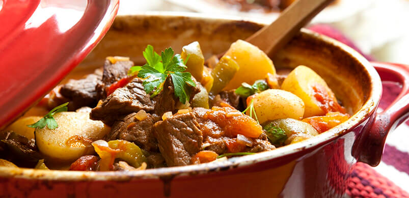 Traditional Beef Stew In Red Baking Tray