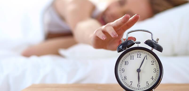 Sleeping Woman Snoozing Alarm