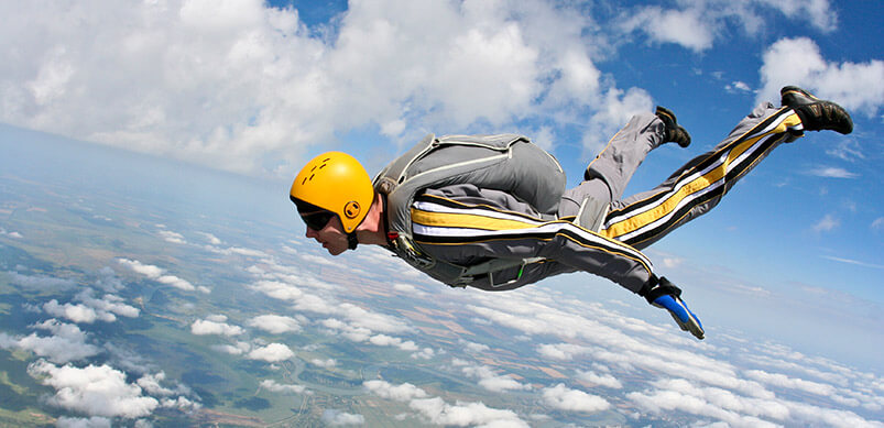 Man Completing Sky Dive