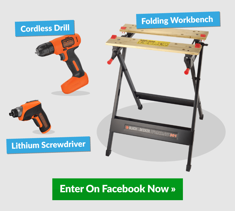 Three Black and Decker Tools With Win Banner