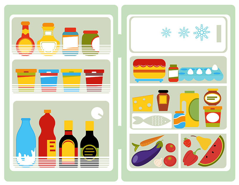 Graphic Of Food Neatly In Fridge