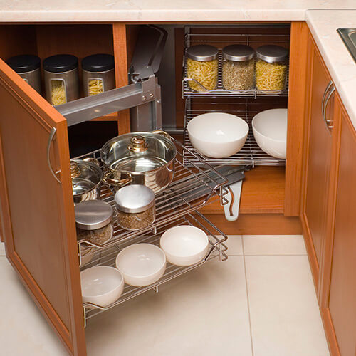 Open Kitchen Cabinet With Stacked Shelves