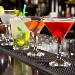 Row Of Cocktails On Bar Counter