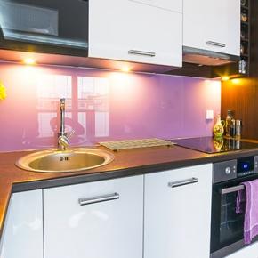 Purple And White Small Kitchen