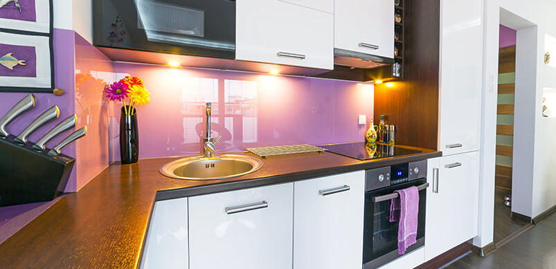 Purple And White Small Kitchen