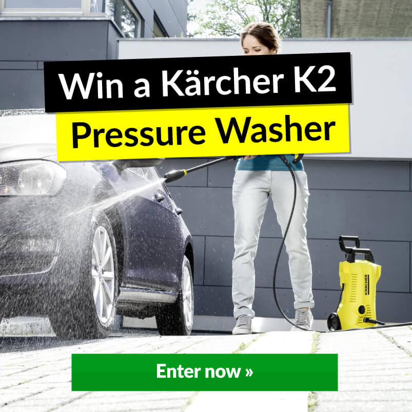 Woman Washing Car With Pressure Washer With Win Banner