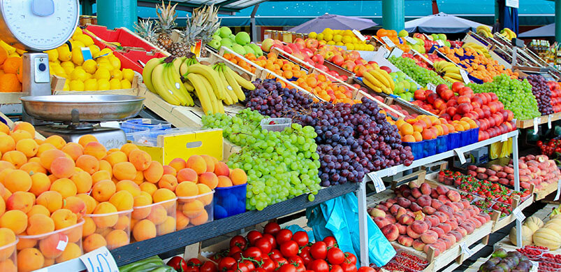 Colourful Fruit And Vegetables At Stall