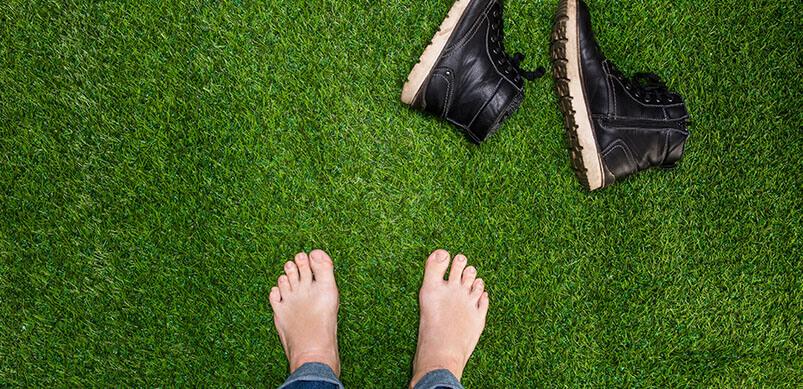 Mens Bare Feet On Grass