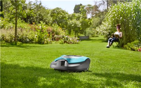 Lawnmower In Garden While Woman Sits